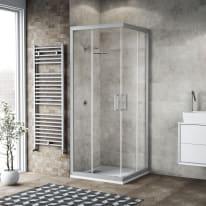 Box doccia scorrevole 90 x 89 cm, H 200 cm in alluminio e vetro, spessore 6 mm vetro di sicurezza serigrafato argento