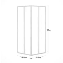 Box doccia quadrato scorrevole 60 x 90 cm, H 185 cm in acrilico, spessore 3 mm vetro acrilico piumato bianco