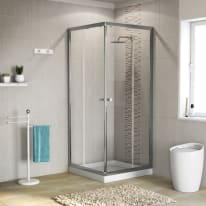 Box doccia quadrato scorrevole Dado 70 x 185 cm, H 185 cm in alluminio e vetro, spessore 5 mm vetro di sicurezza trasparente cromato