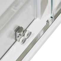 Box doccia quadrato scorrevole Dado 90 x 89 cm, H 185 cm in alluminio e vetro, spessore 5 mm serigrafato cromato