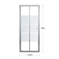 Porta doccia pieghevole Dado 80 cm, H 185 cm in vetro temprato, spessore 5 mm smerigliato cromato