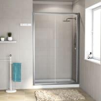 Porta doccia scorrevole Dado 140 cm, H 185 cm in vetro, spessore 5 mm trasparente cromato