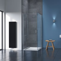 Box doccia quadrato battente 80 x 80 cm, H 195 cm in alluminio e vetro, spessore 8 mm trasparente argento