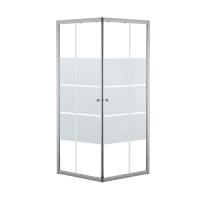Box doccia quadrato scorrevole Dado 70 x 185 cm, H 185 cm in alluminio e vetro, spessore 5 mm vetro di sicurezza smerigliato cromato