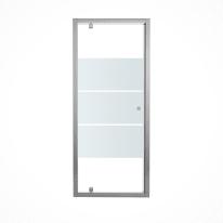 Porta doccia battente Dado 80 cm, H 185 cm in vetro temprato, spessore 5 mm smerigliato cromato