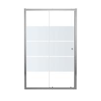 Porta doccia scorrevole Dado , H 185 cm in vetro temprato, spessore 5 mm smerigliato cromato