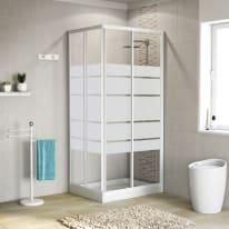 Box doccia scorrevole 90 x 90 cm, H 185 cm in alluminio e vetro, spessore 4 mm serigrafato bianco