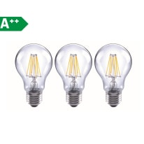 Lampadina Filamento LED E27 standard bianco caldo 6W = 806LM (equiv 60W) 360° LEXMAN, 3 pezzi
