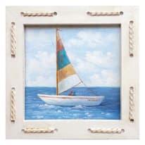 Quadro con cornice Sea Barca 25x25 cm