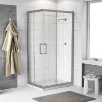 Box doccia scorrevole Quad 70 x 90 cm, H 190 cm in alluminio e vetro, spessore 6 mm trasparente argento