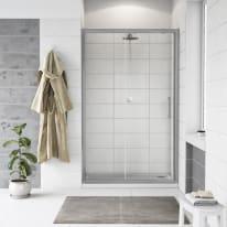 Porta doccia scorrevole Quad 100 cm, H 190 cm in vetro, spessore 6 mm trasparente argento