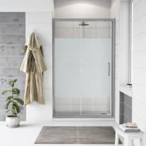 Porta doccia scorrevole Quad 140 cm, H 190 cm in vetro, spessore 6 mm brinato / trasparente argento