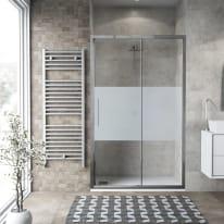 Porta doccia scorrevole Record 135 cm, H 195 cm in vetro temprato, spessore 6 mm serigrafato argento