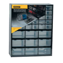 Scaffale per riordino STANLEY 39 cassetti in plastica nero e trasparente