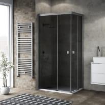 Box doccia scorrevole 120 x 70 cm, H 200 cm in vetro, spessore 6 mm fumé argento