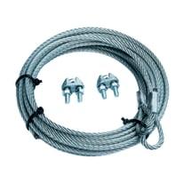 Cavo con gancio STANDERS ad asola + 2 morsetti per porte basculanti  in acciaio zincato Ø 4 mm x 2.5 m