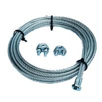 Cavo con gancio a T + 2 morsetti per porte basculanti  in acciaio zincato Ø 4 mm x 2.5 m