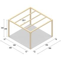 Pergola Andromeda in legno naturale L 380 x P 380 x H 240 cm
