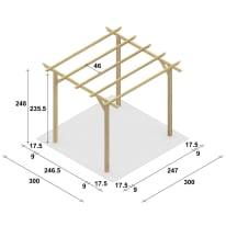Pergola Apple in legno marrone L 300 x P 300 x H 248 cm