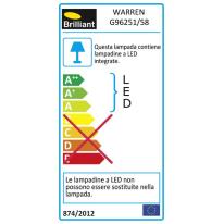 Applique Warren LED integrato in alluminio, grigio, 2.4W 192LM IP44 INSPIRE