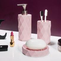 Bicchiere porta spazzolini Poly in poliresina rosa