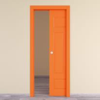 Porta scorrevole a scomparsa Coconut Groove arancio L 80 x H 210 cm reversibile
