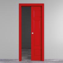 Porta scorrevole a scomparsa Coconut Groove rosso L 90 x H 210 cm reversibile