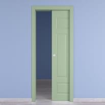 Porta scorrevole a scomparsa Coconut Groove verde L 90 x H 210 cm reversibile