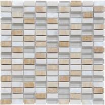 Mosaico Fusion H 0.8 x L 30 cm bianco