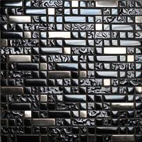 Mosaico Muretto H 30 x L 30 cm nero, argento