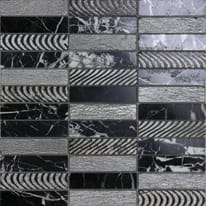 Mosaico Ardesia H 30 x L 30 cm nero, argento