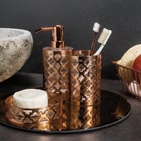 Bicchiere porta spazzolini Jasmine in metallo rame