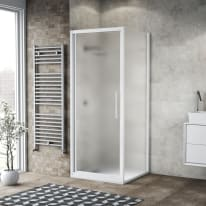 Box doccia battente 95 x , H 195 cm in vetro, spessore 6 mm spazzolato bianco