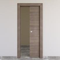 Porta scorrevole a scomparsa Stylish grigio chiaro L 80 x H 210 cm reversibile