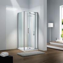 Porta doccia pieghevole Slimline 85 cm, H 195 cm in vetro temprato, spessore 6 mm trasparente argento