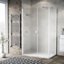 Box doccia battente 110 x 80 cm, H 200 cm in vetro, spessore 6 mm spazzolato bianco