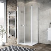Porta doccia 75 x 80 cm, H 200 cm in vetro, spessore 6 mm spazzolato bianco