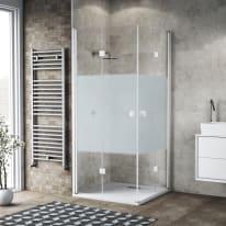 Box doccia pieghevole 70 x 70 cm, H 200 cm in vetro, spessore 6 mm serigrafato bianco