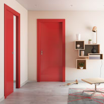 Porta a battente Massaua Red rosso L 80 x H 210 cm sinistra