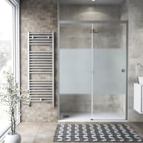 Porta doccia 1 anta fissa + 1 anta scorrevole Neo 120 cm, H 200 cm in vetro temprato, spessore 6 mm serigrafato argento
