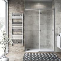Porta doccia 1 anta fissa + 1 anta scorrevole Neo 120 cm, H 200 cm in vetro temprato, spessore 6 mm trasparente cromato