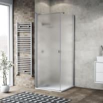 Box doccia battente 100 x 80 cm, H 200 cm in vetro, spessore 6 mm spazzolato argento