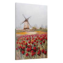 Quadro dipinto a mano Mulino Con Tulipani 90x60 cm