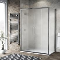Box doccia scorrevole 75 x , H 195 cm in vetro, spessore 6 mm spazzolato argento