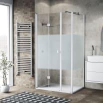 Box doccia pieghevole 125 x 80 cm, H 201.7 cm in vetro, spessore 6 mm serigrafato bianco