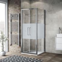 Box doccia battente 90 x 80 cm, H 195 cm in vetro, spessore 6 mm serigrafato argento