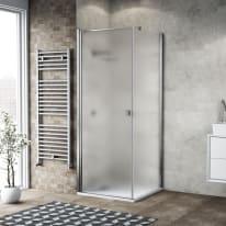 Box doccia battente 70 x 80 cm, H 200 cm in vetro, spessore 6 mm spazzolato cromato