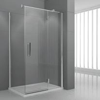 Porta doccia battente Modulo 140 cm, H 195 cm in vetro temprato, spessore 6 mm trasparente cromato