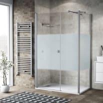 Box doccia battente 110 x 80 cm, H 200 cm in vetro, spessore 6 mm serigrafato bianco