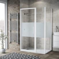 Box doccia battente 115 x 80 cm, H 195 cm in vetro temprato, spessore 6 mm serigrafato bianco
